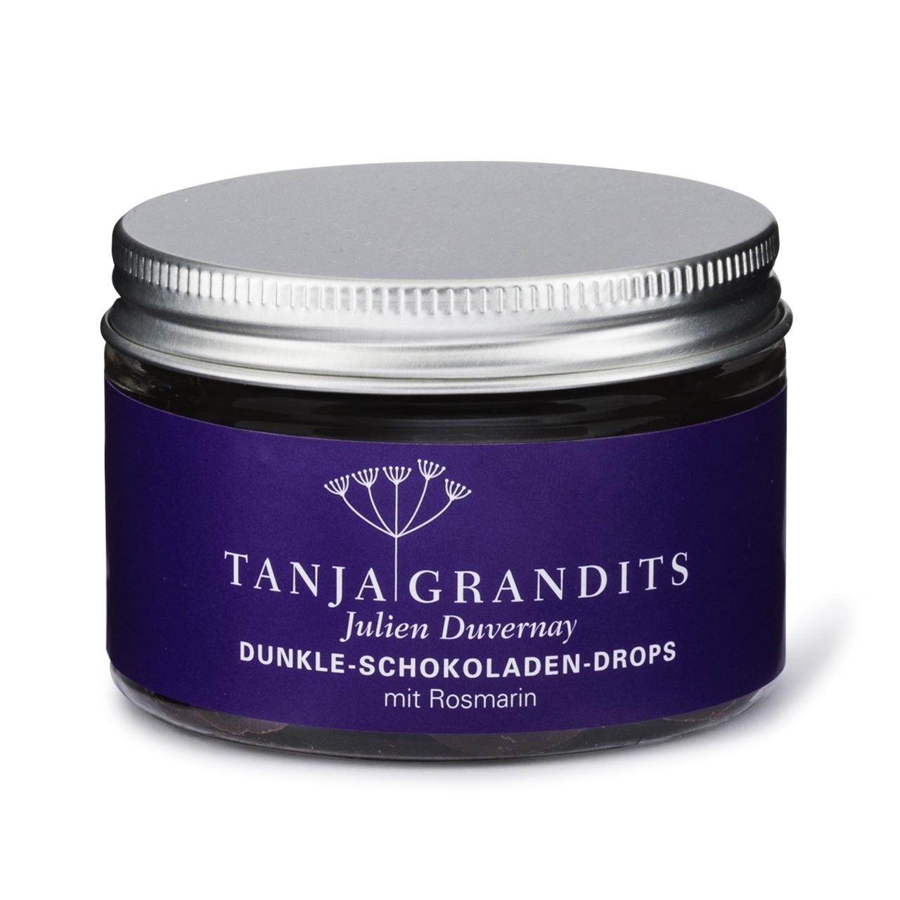 Tanja Grandits: Schokoladen Drops Rosmarin Dunkle Schokolade 67%