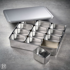 12 rechteckige Mini Edelstahl Gefässe mit Deckel, mit Tablett 327*286*63