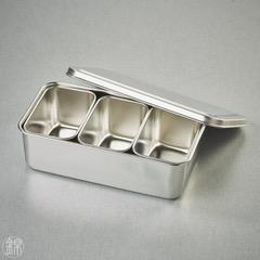 3 Mini Edelstahl Gefässe mit Deckel, mit Tablett 212*114*63