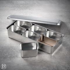6 rechteckige Mini Edelstahl Gefässe mit Deckel, mit Tablett 328*148*63