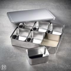 6 quadratische Mini Edelstahl Gefässe mit Deckel, mit Tablett 327*286*63