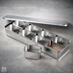 8 Mini Edelstahl Gefässe mit Deckel, mit Tablett 432*148*63